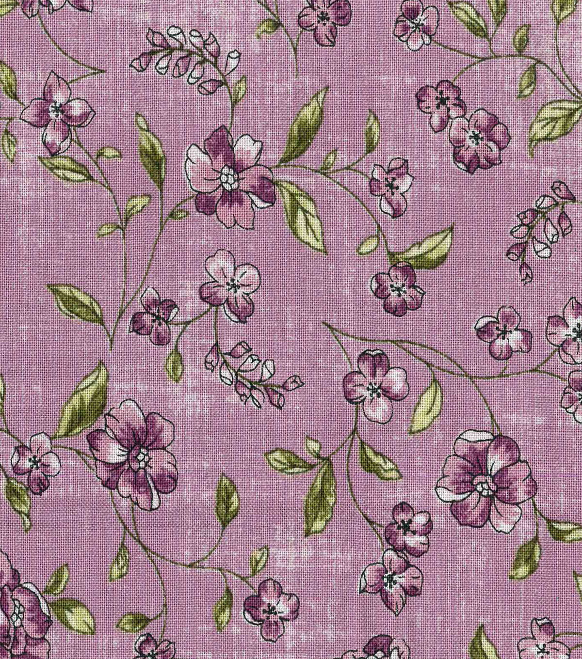 Vintage Cotton Fabric 43\u0022-Tossed Floral Vines
