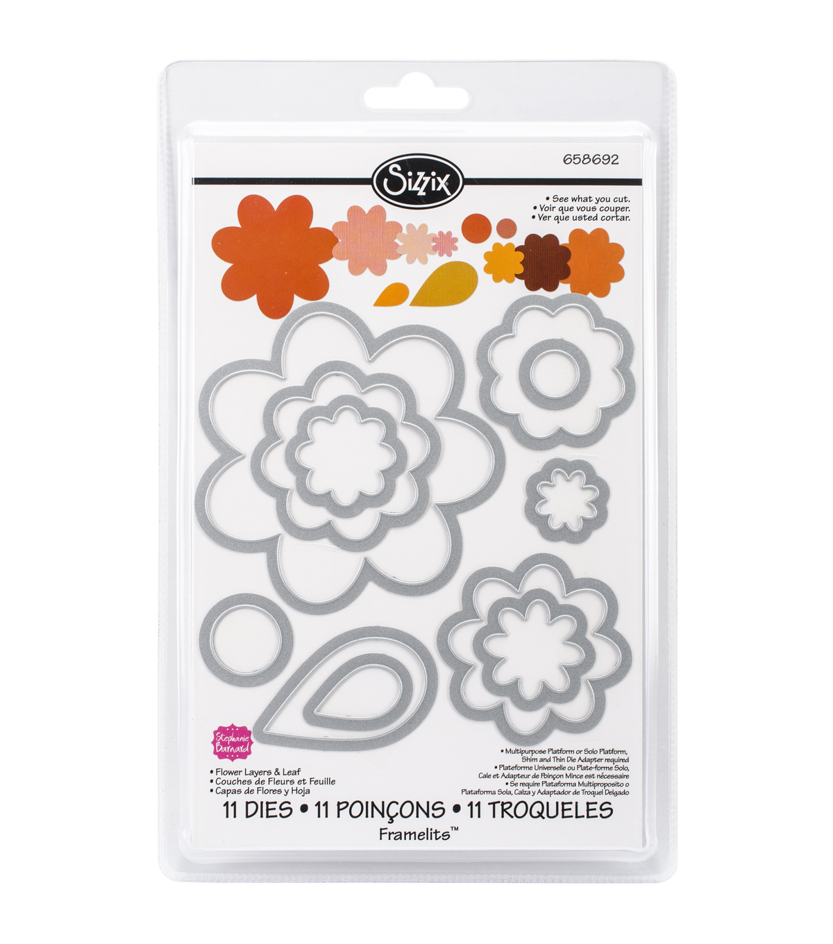 Sizzix Framelits 11 Pack Dies-Flower Layers & Leaf