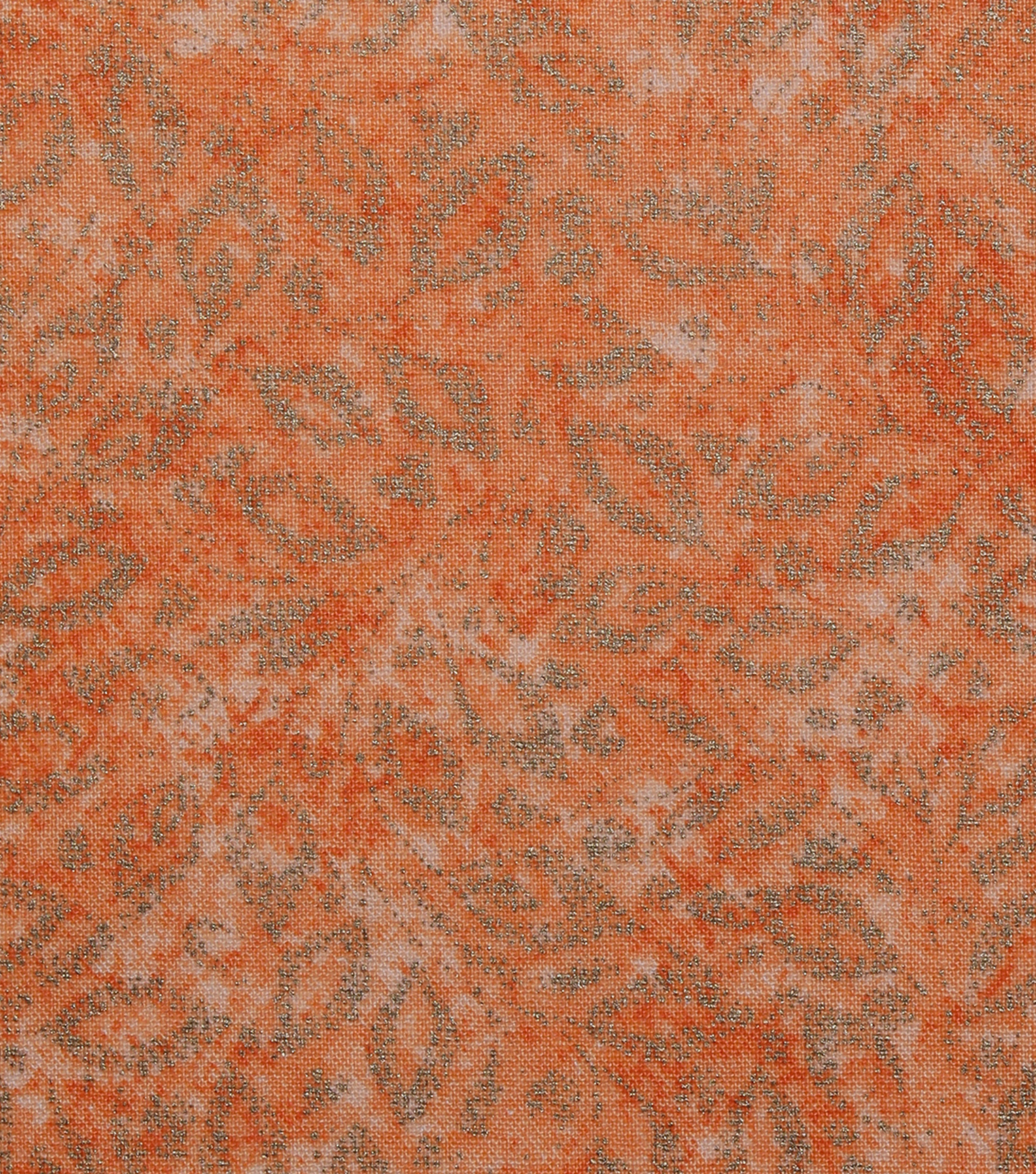 Keepsake Calico Cotton Fabric 43\u0022-Metallic Vines on Orange