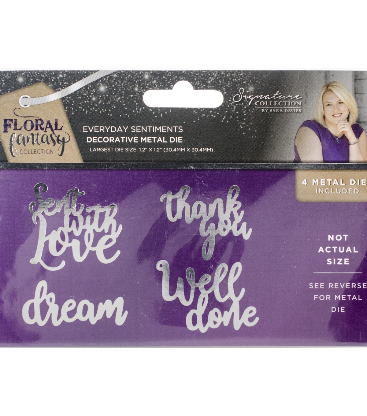 Sara Davies Signature Floral Fantasy 4 pk Metal Dies-Everyday Sentiments