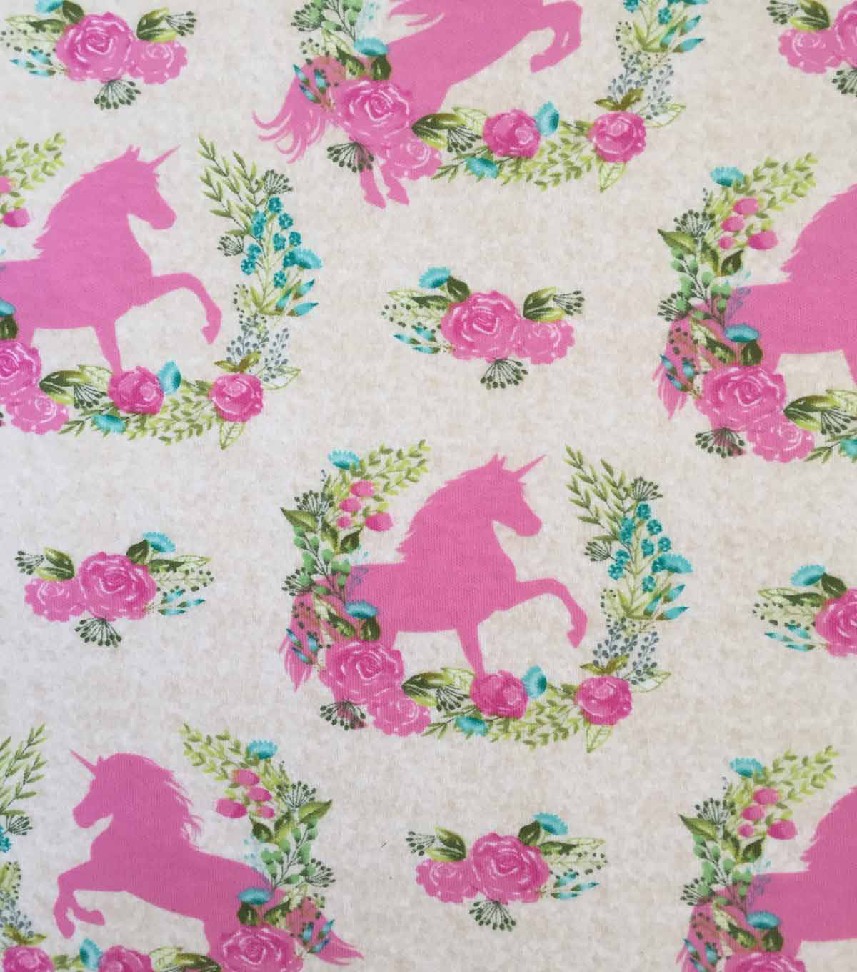 Doodles Cotton Interlock Knit Fabric-Oat Unicorns in Garland
