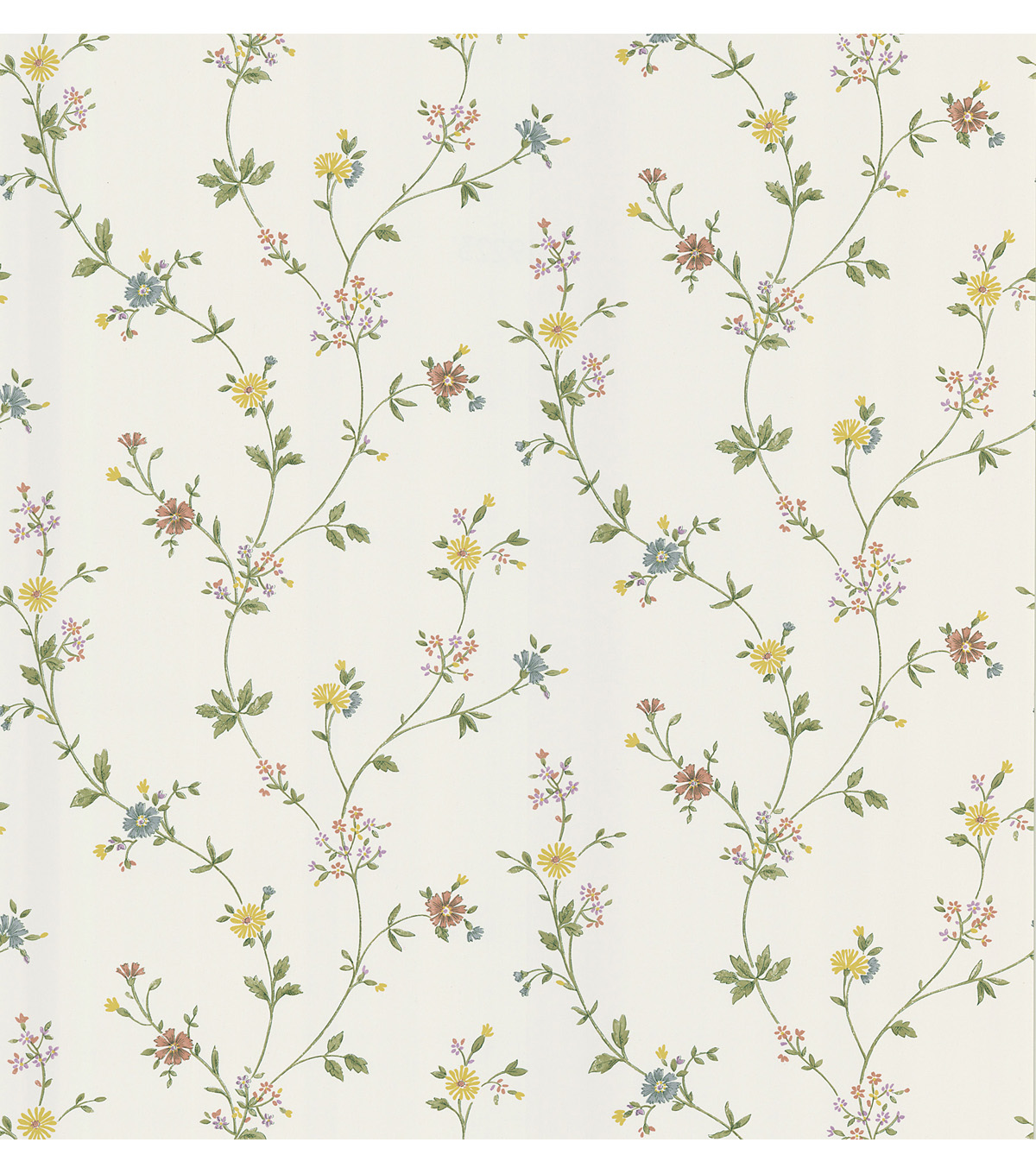 Daisy White Floral Trail Wallpaper