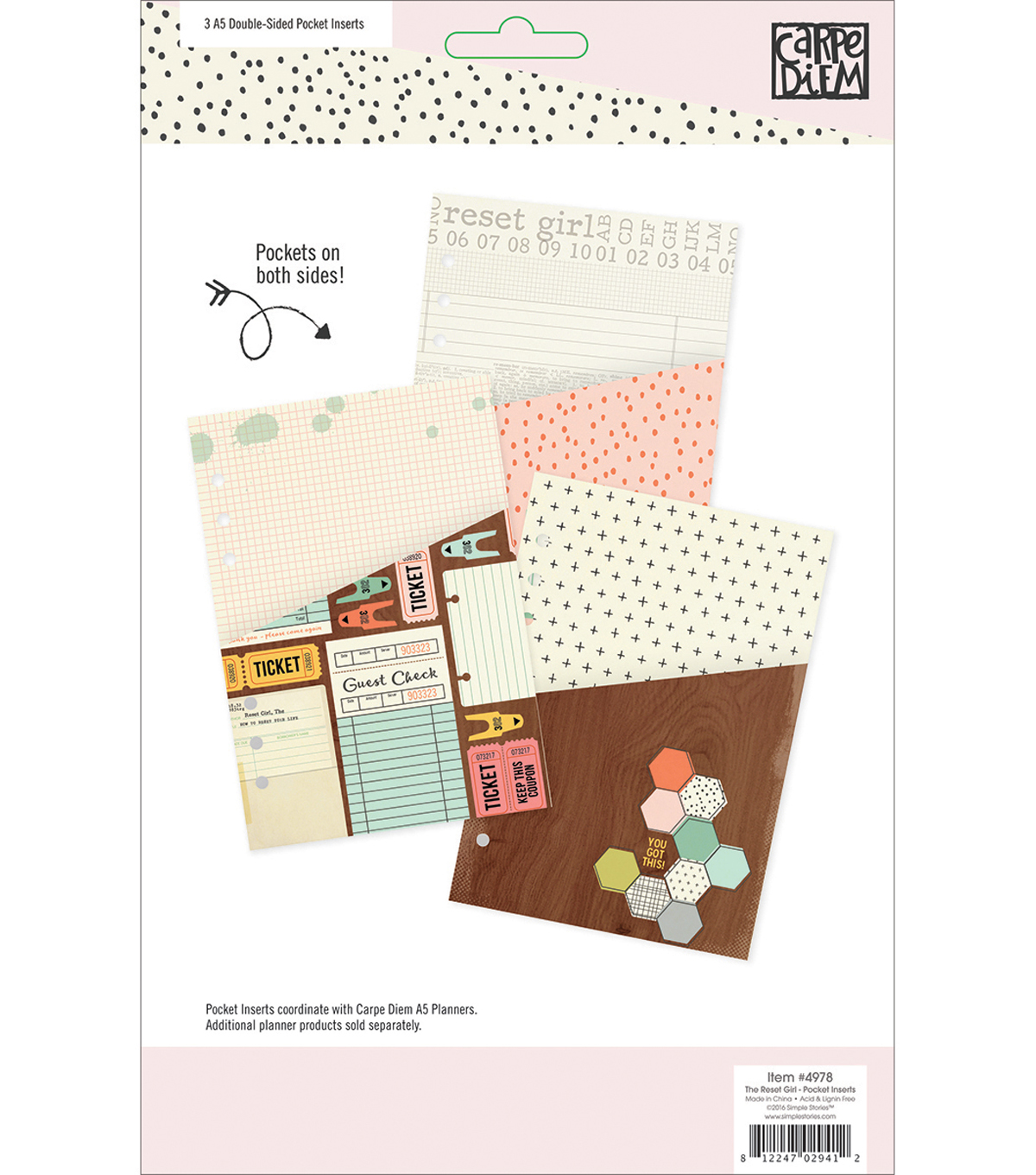 Simple Stories Carpe Diem The Reset Girl A5 Double-Sided Pocket Inserts