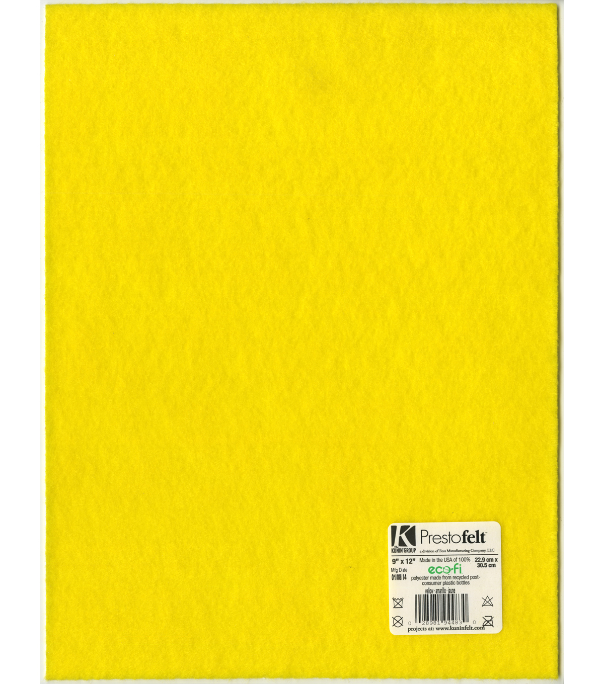 9x12 Presto Yellow Sticky Back Felt