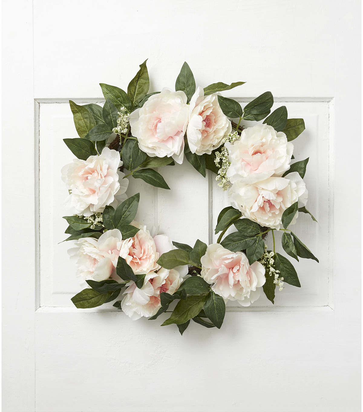 Fresh Picked Spring 22\u0027\u0027 Peony & Leaves Wreath-Cream