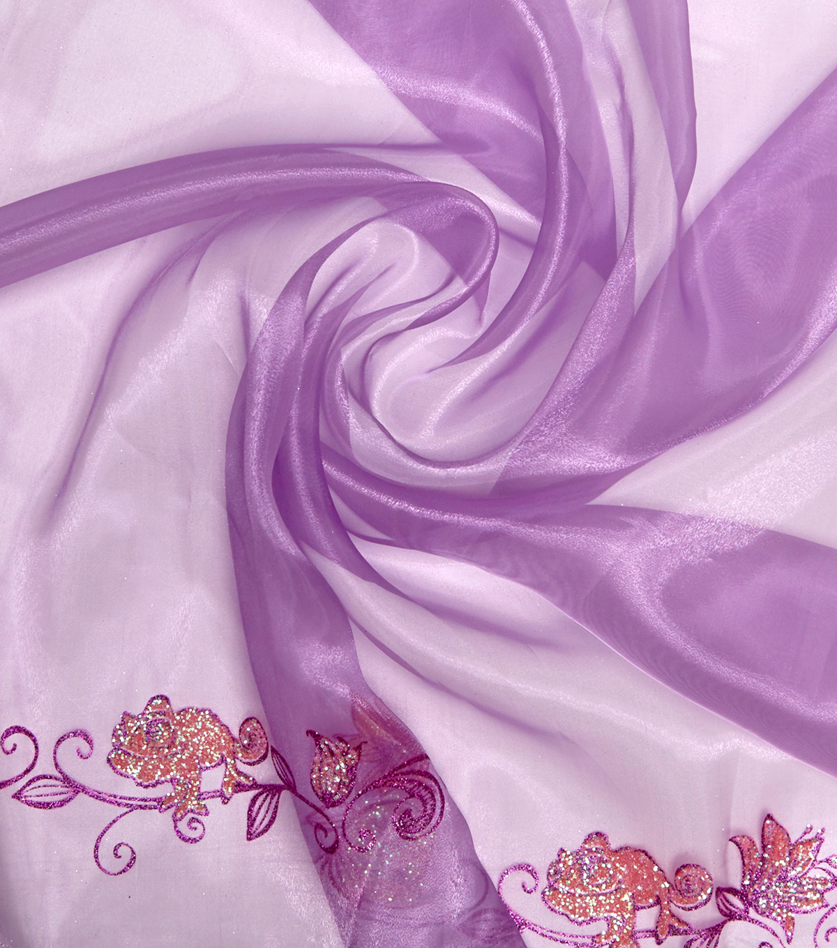 Disney Rapunzel Organza Fabric -Purple Glitter Border
