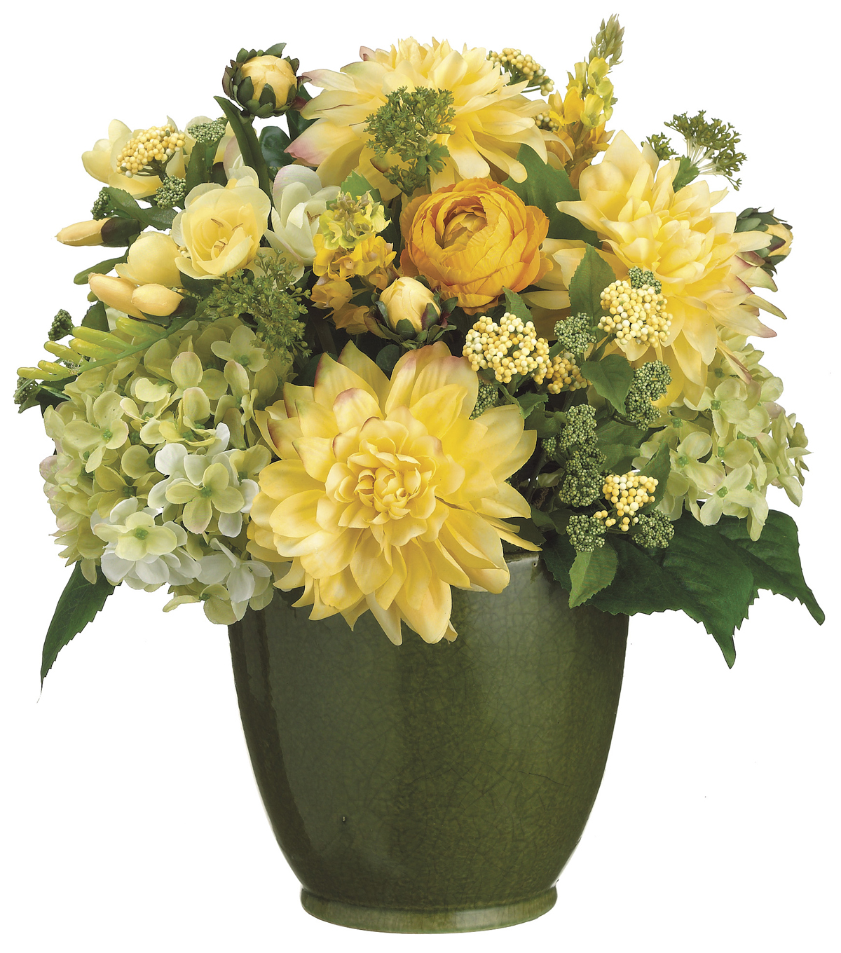 Bloom room luxe 16 dahlia hydrangea in ceramic yellow joann bloom room luxe 16u0027u0027 dahlia hydrangea freesia in izmirmasajfo