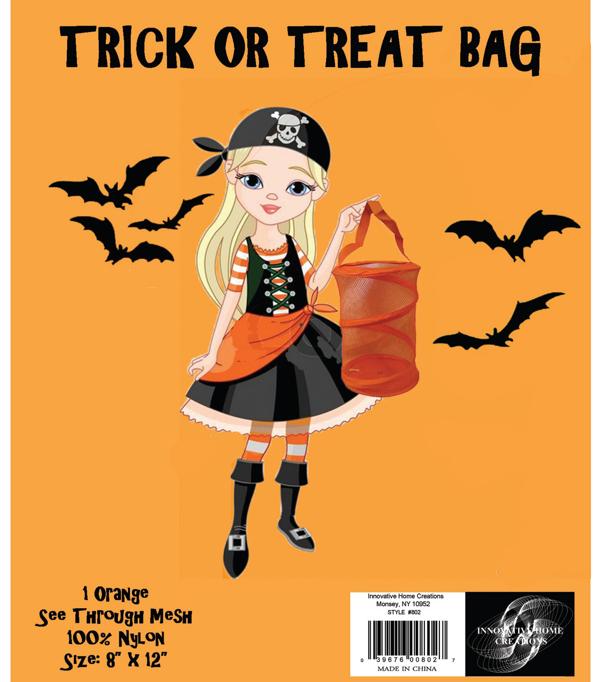 Innovative Home Creations 8\u0027\u0027x12\u0027\u0027 Trick or Treat Mesh Bag-Orange