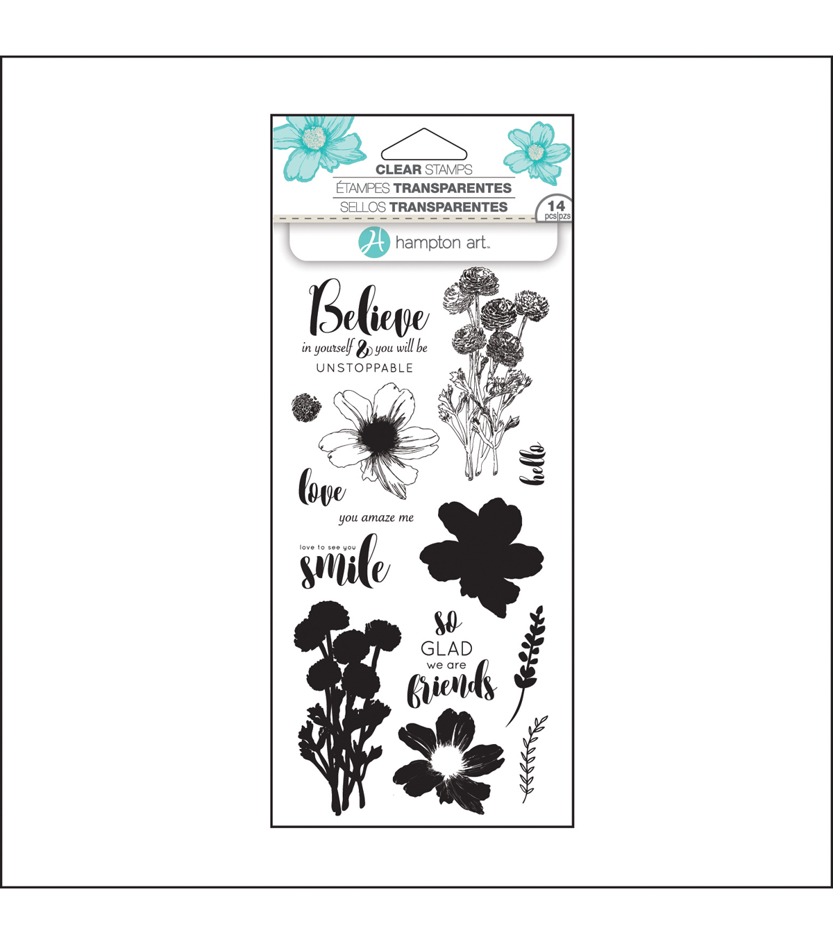 Hampton Art Layering Clear Stamp-Flower Believe