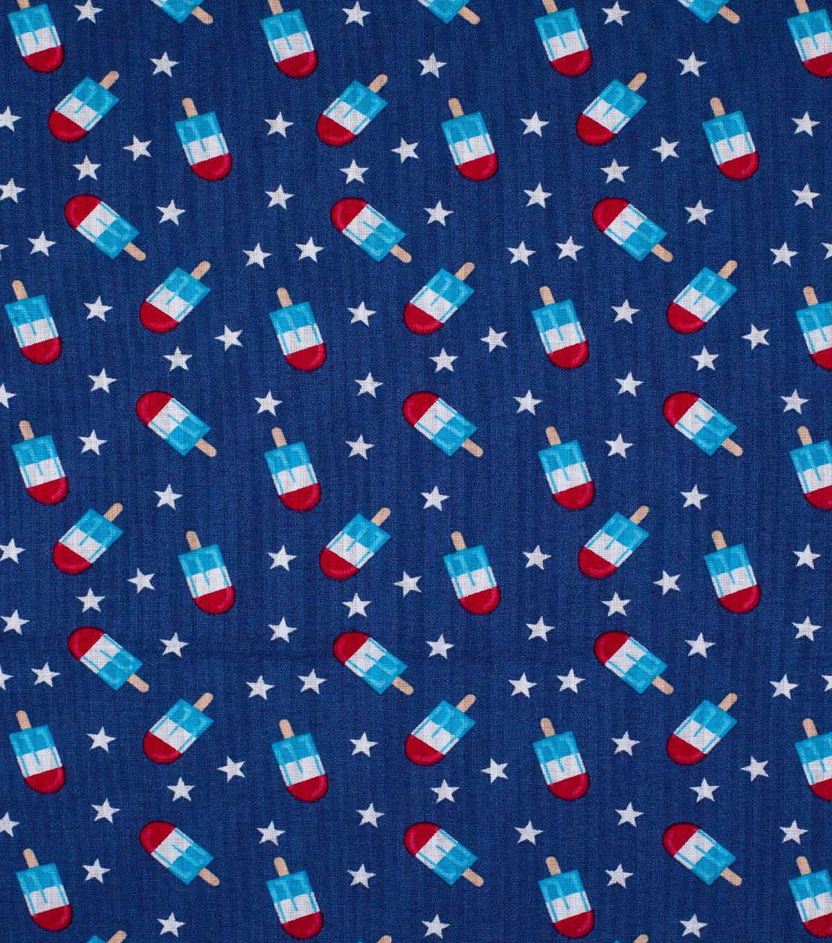 Patriotic Cotton Fabric 43\u0027\u0027-Popsicles