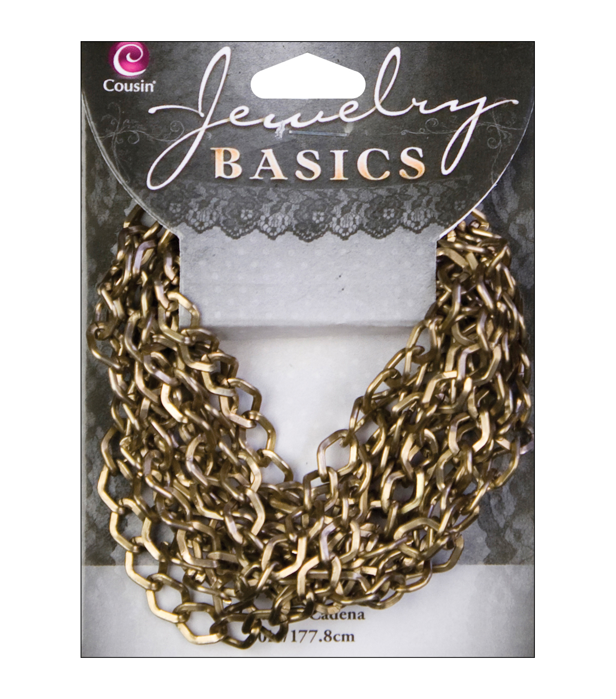 Jewerly Basics Metal Chain 1/Pkg-70 Inch Small Antique Gold Dim