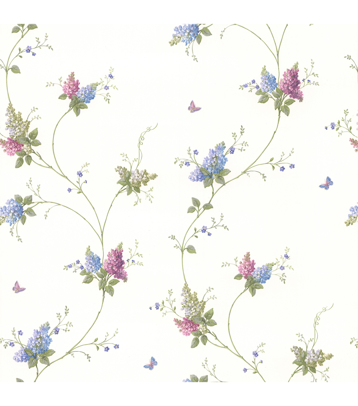 Isabelle Purple Butterfly Floral Trail Wallpaper