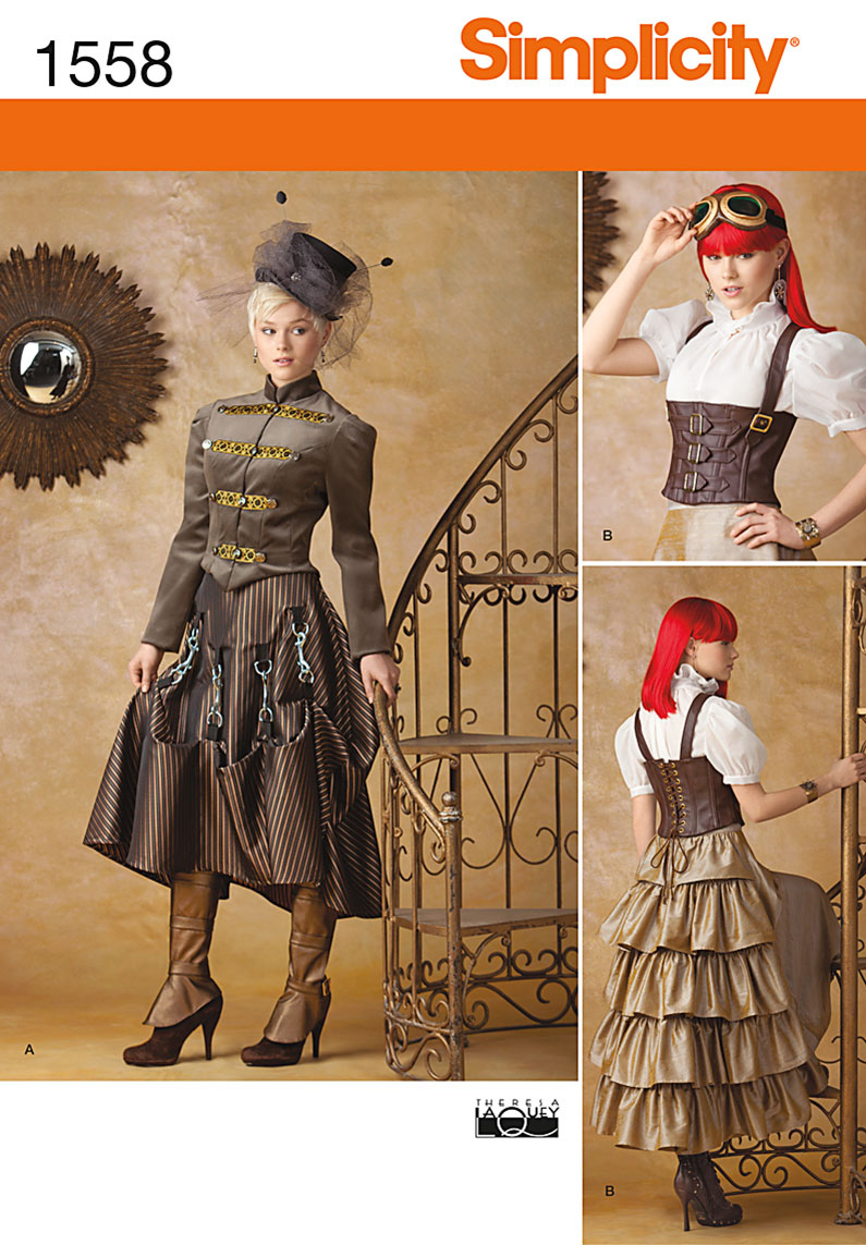 Simplicity Pattern 1558-Misses\u0027 Steampunk Costume, Sizes 6-8-10-12