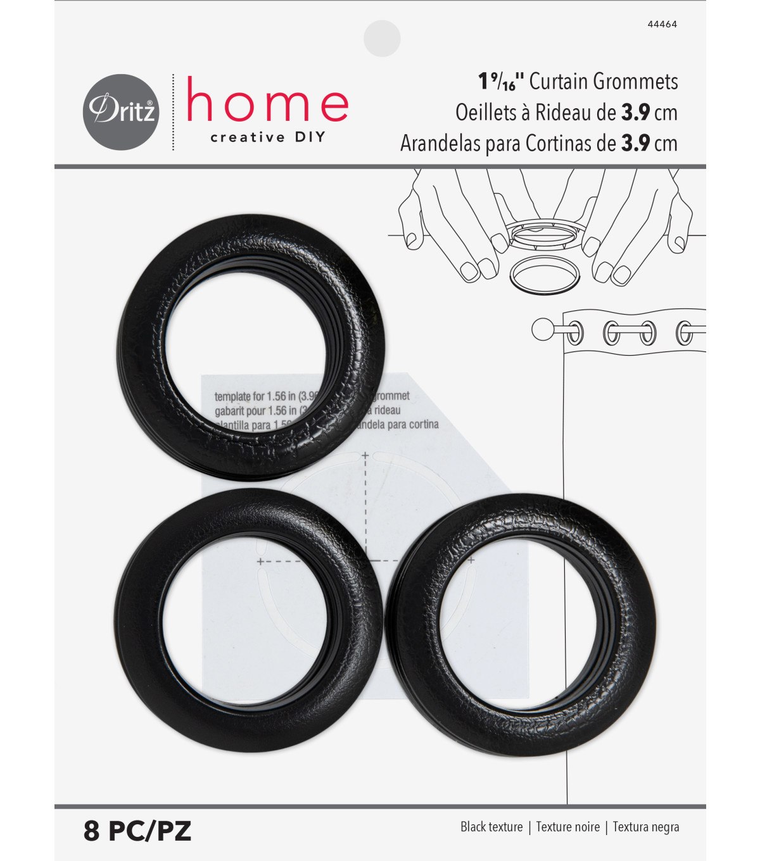 Lg Black Leather Look 8 Sets Grommets