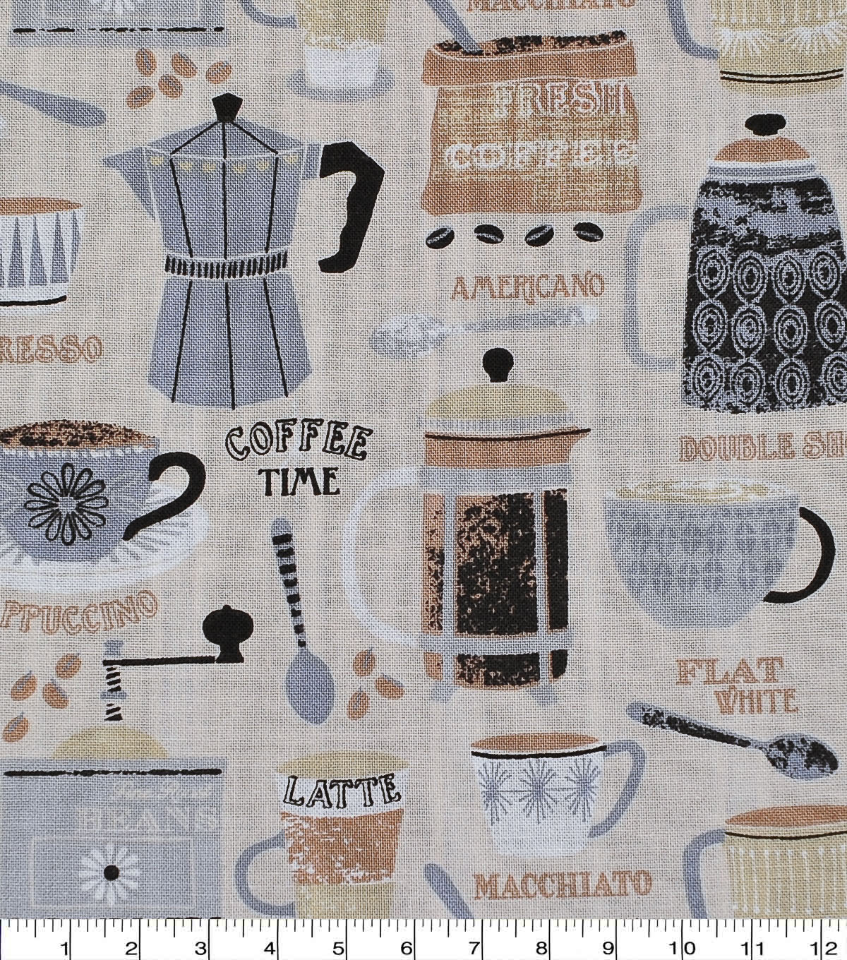 Novelty Cotton Fabric-Coffee Time Tan