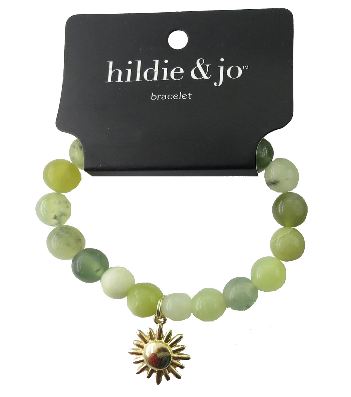 hildie & jo Beads Stretch Bracelet-Ivory & Green with Gold Charm