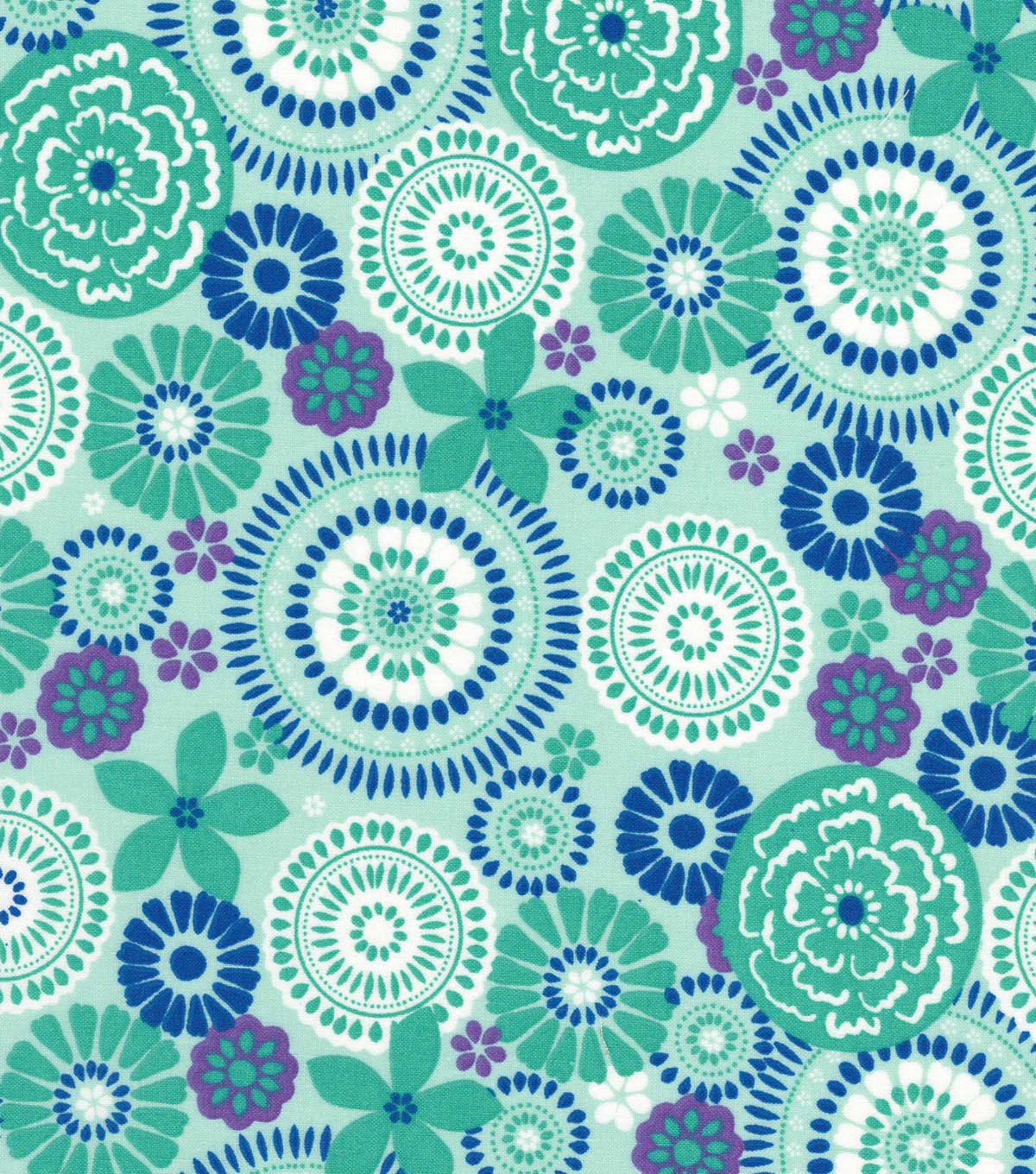 Quilter\u0027s Showcase Cotton Fabric 44\u0027\u0027-Blue & Teal Floral Medallion