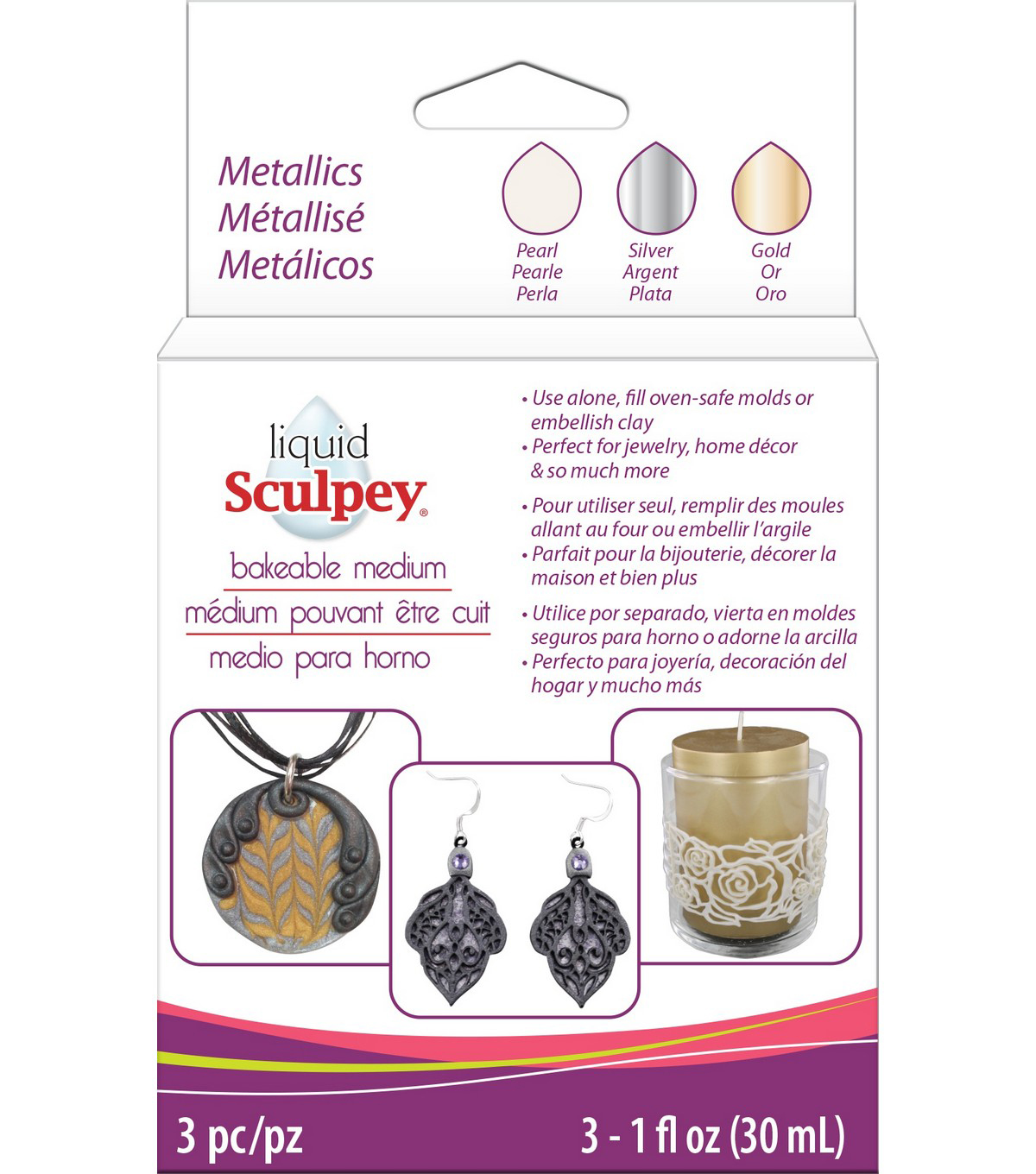 Sculpey 3 pk 1 fl. oz. Liquid Polymer Clay-Metallics