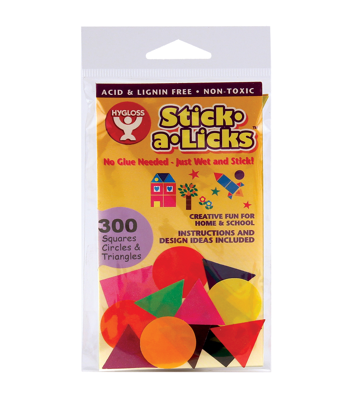 Stick-A-Licks 300/Pkg-1\u0022 Squares/Circles/Triangles