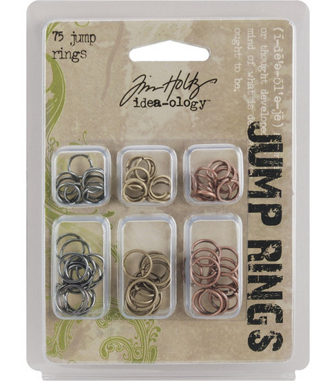 Tim Holtz Idea-Ology Jump Rings-75PK/Antique Metallic