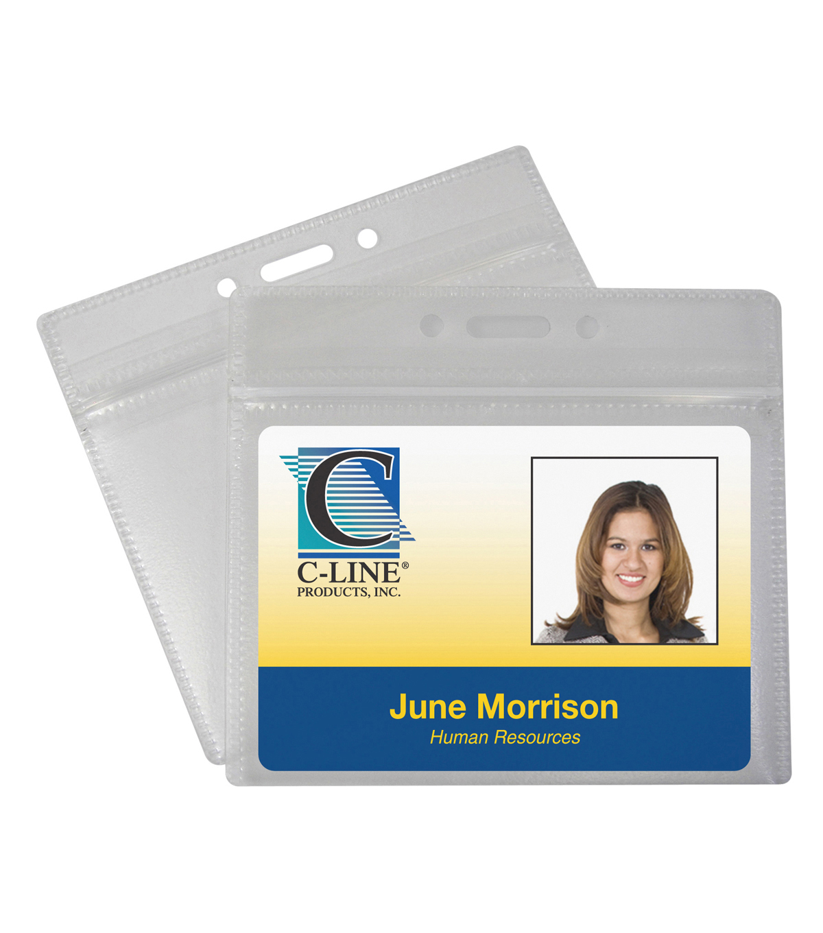 C-Line Zippered Badge Holders, Horizontal, Pack of 50