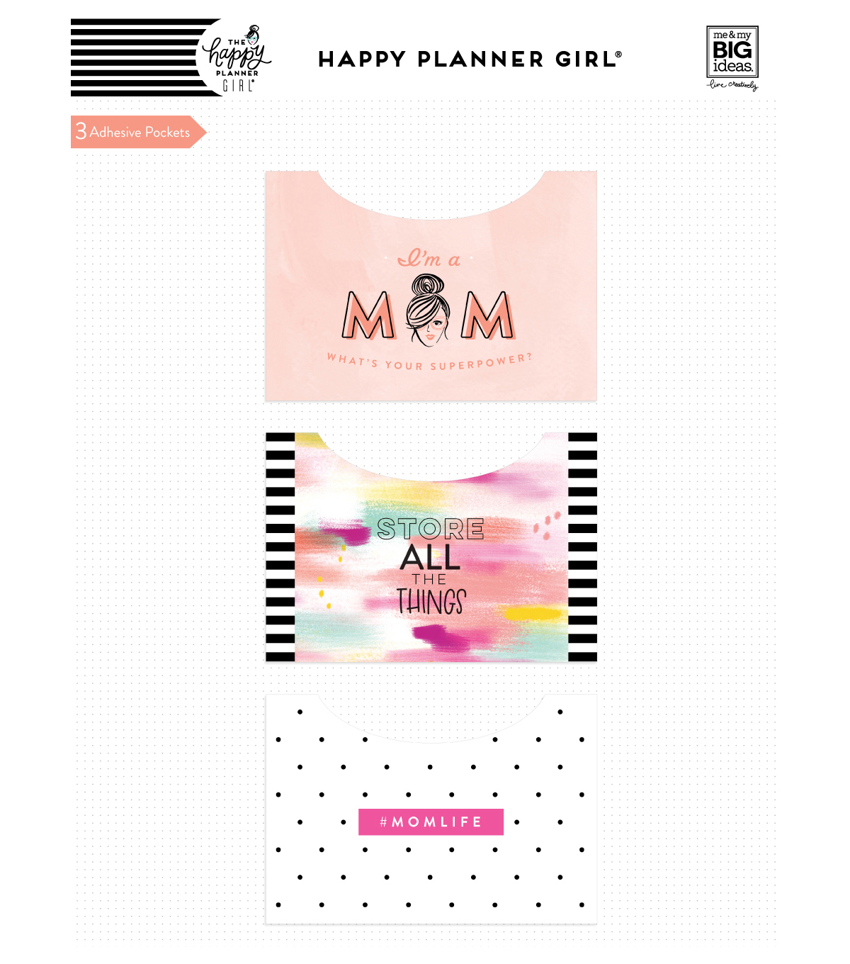 The Happy Planner Girl Adhesive Pockets-Super Mom