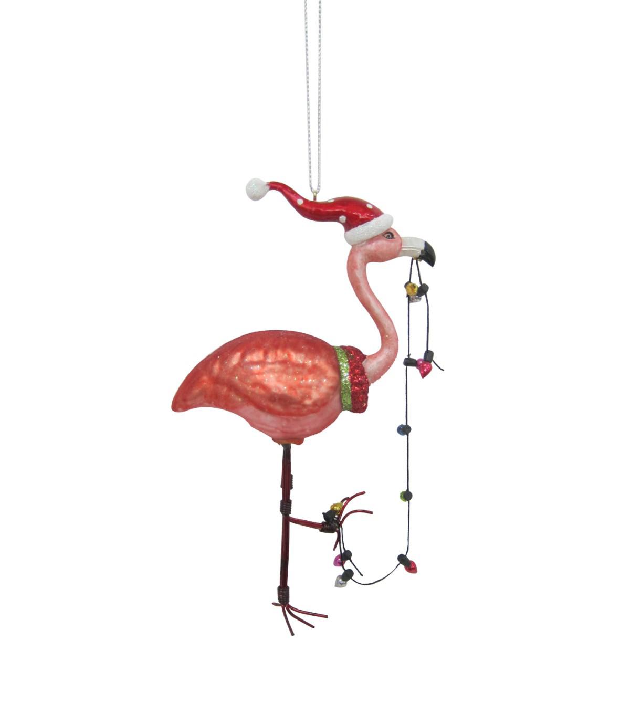 makeru0027s holiday christmas flamingo with lights ornament - Flamingo Christmas