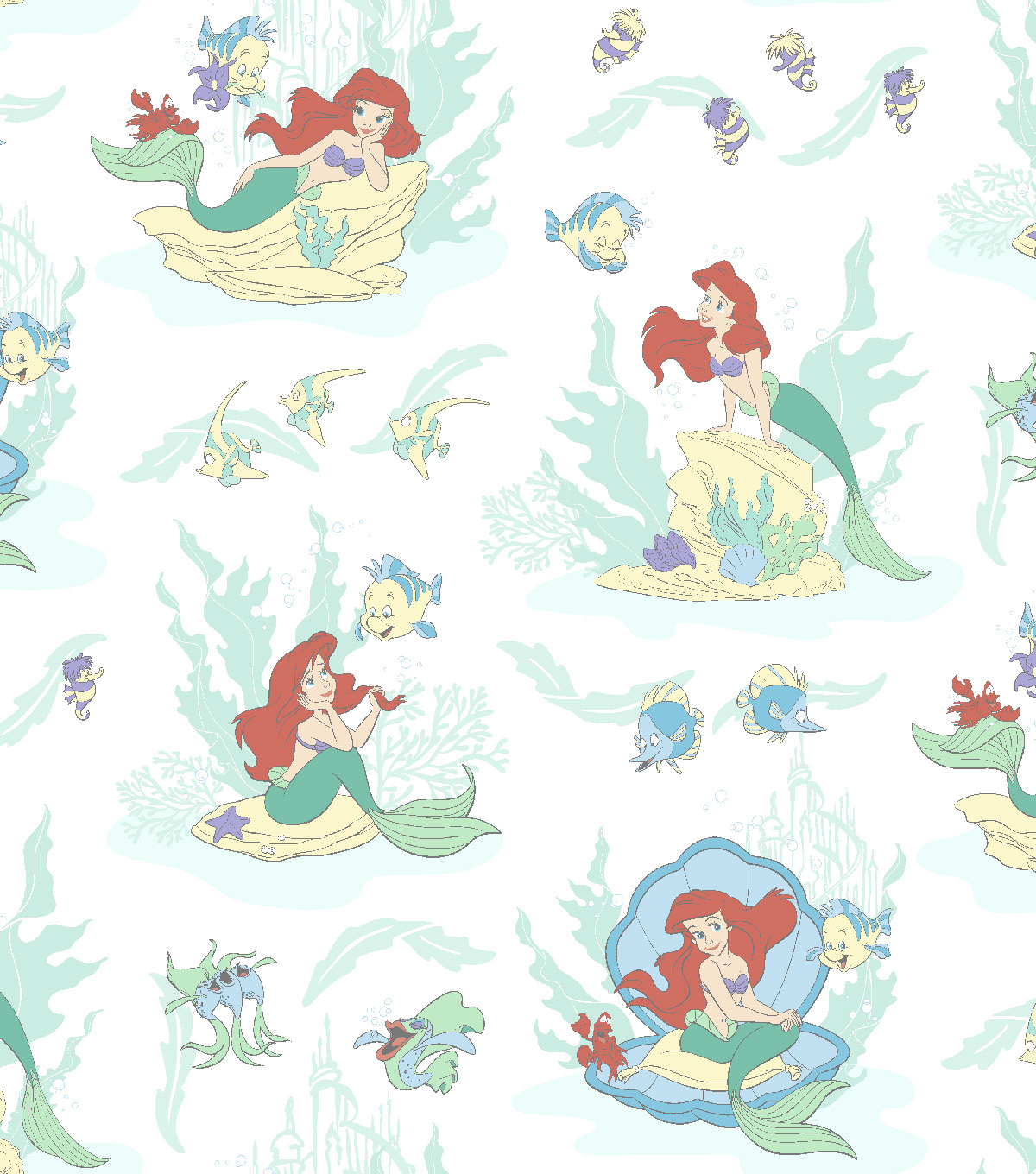Disney Ariel Cotton Fabric -Scenic