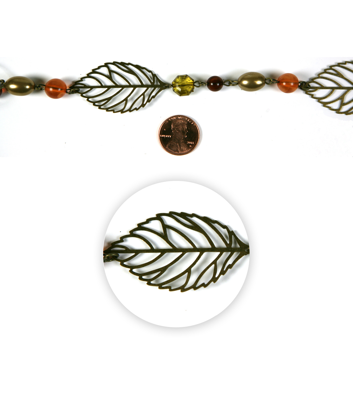 Blue Moon Strung Beaded Decorative Chain,Various Shapes,Autumn,Leaf