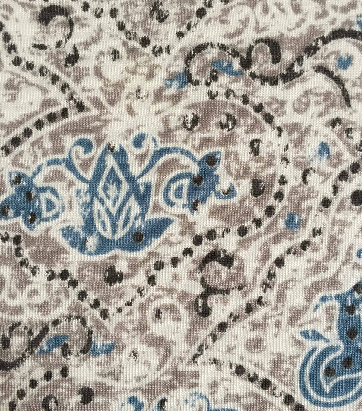 Knit Apparel Fabric 57\u0022-Gray Blue Scalloped Boho