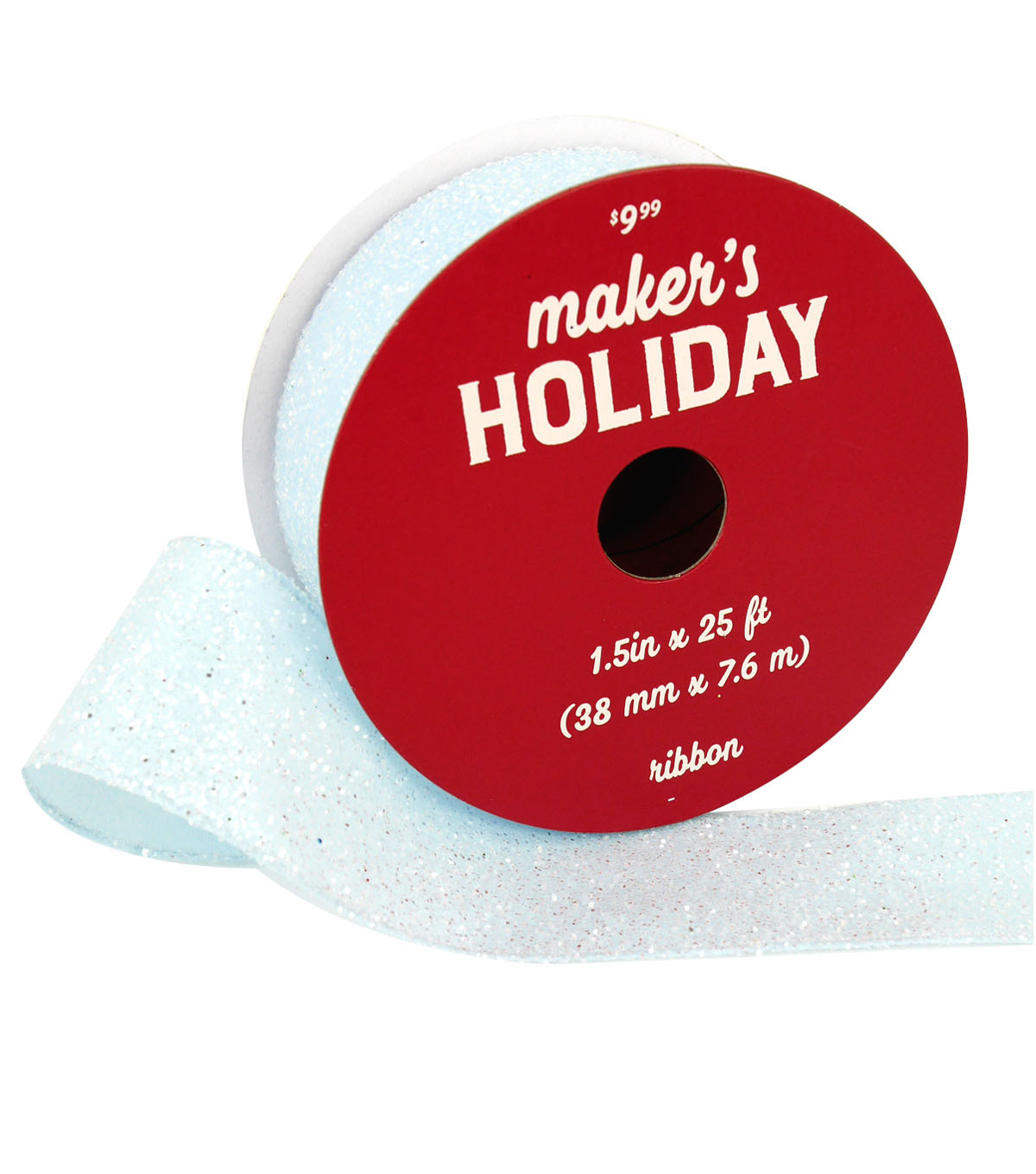 Maker\u0027s Holiday Christmas Ribbon 1.5\u0027\u0027x25\u0027-White Glitter on Light Blue