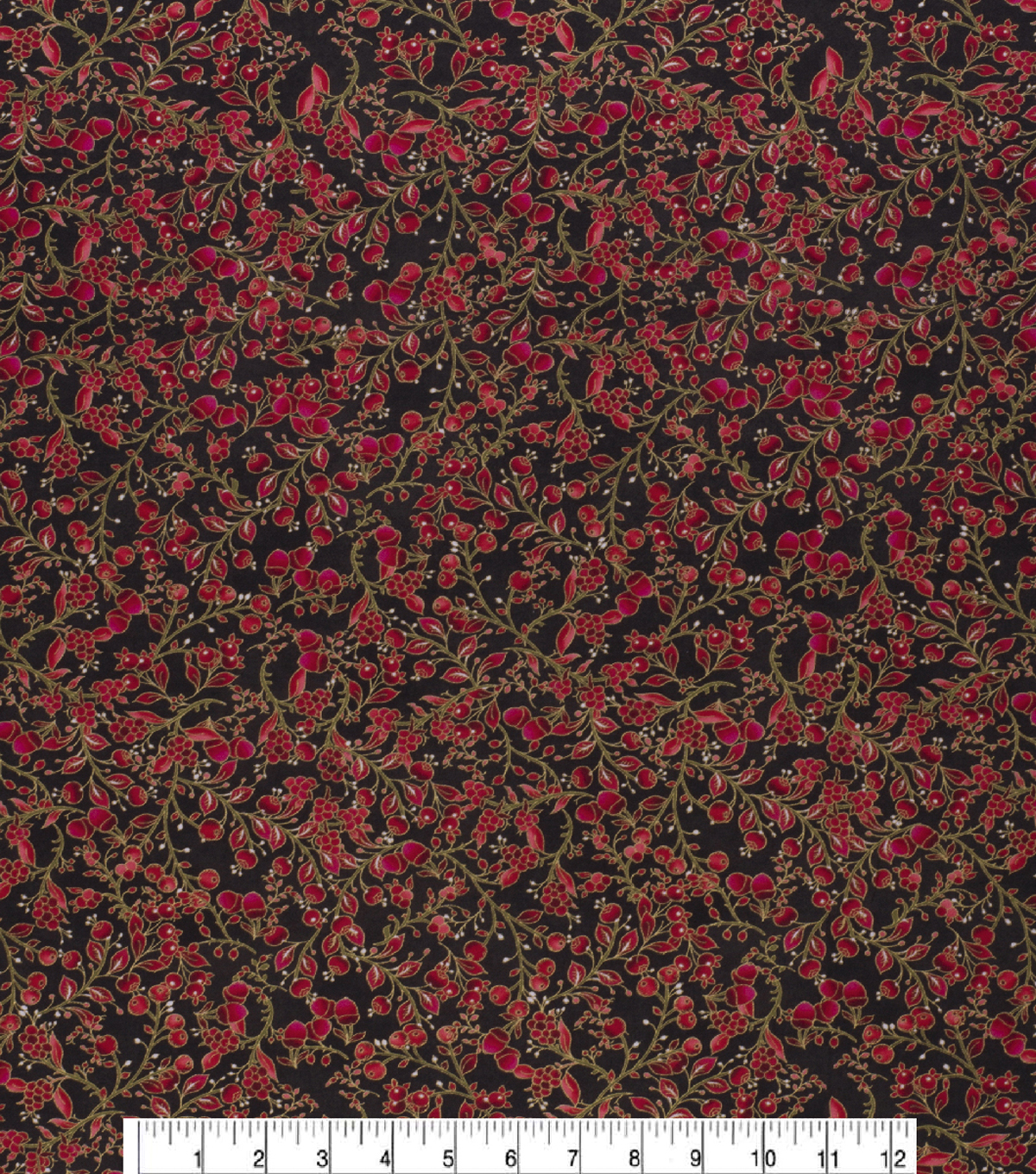 Christmas Cotton Fabric-Red Berries Gold Metallic
