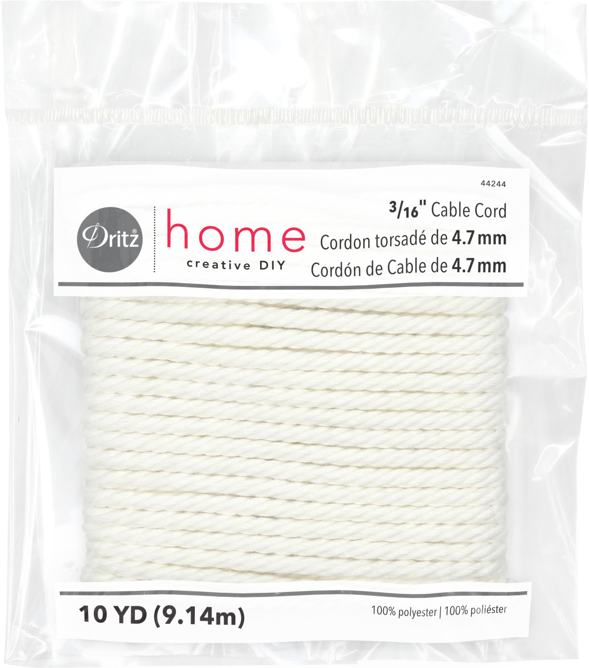 Dritz Home 0.19\u0022 x 10Yds Cable Cord White