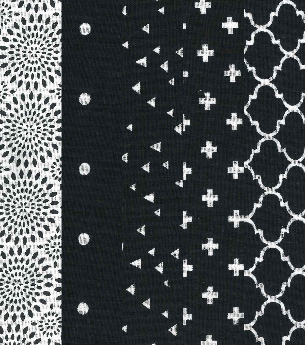 Jelly Roll Cotton Fabric 20 Strips 2.5\u0027\u0027-Assorted Black & White Patterns