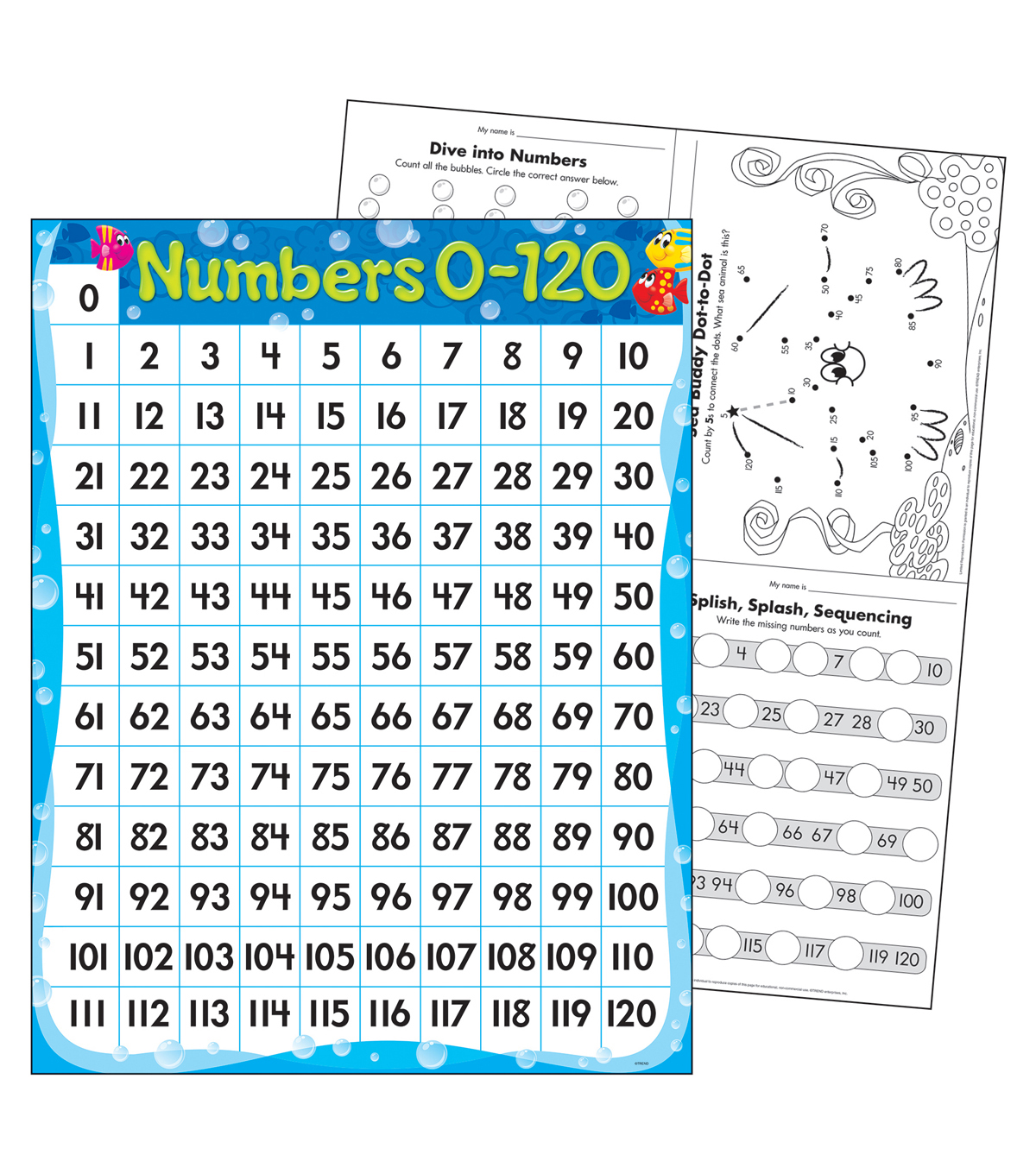 Numbers 0-120 Sea Buddies Learning Chart 17\u0022x22\u0022 6pk
