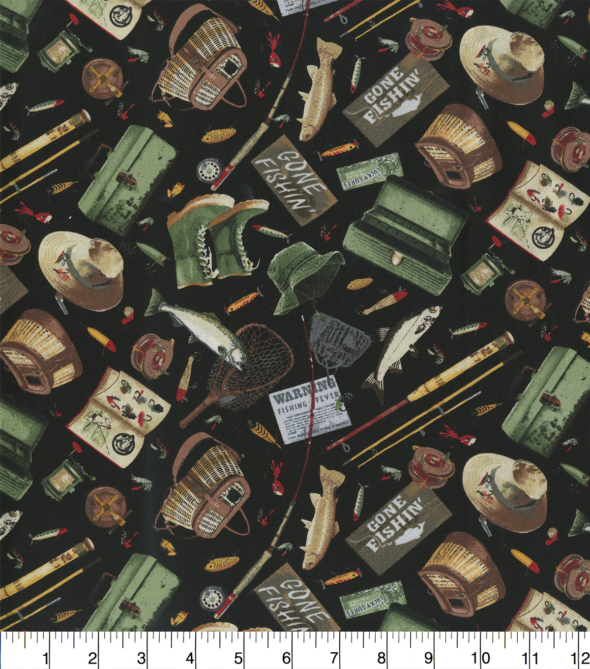 Novelty Cotton Fabric-Fishing Gear On Black