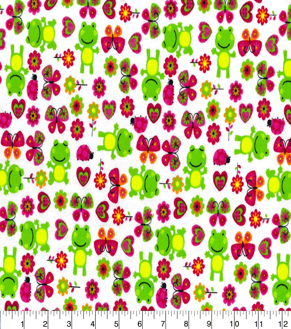 Snuggle Flannel Print Fabric -Froggies & Butterflies