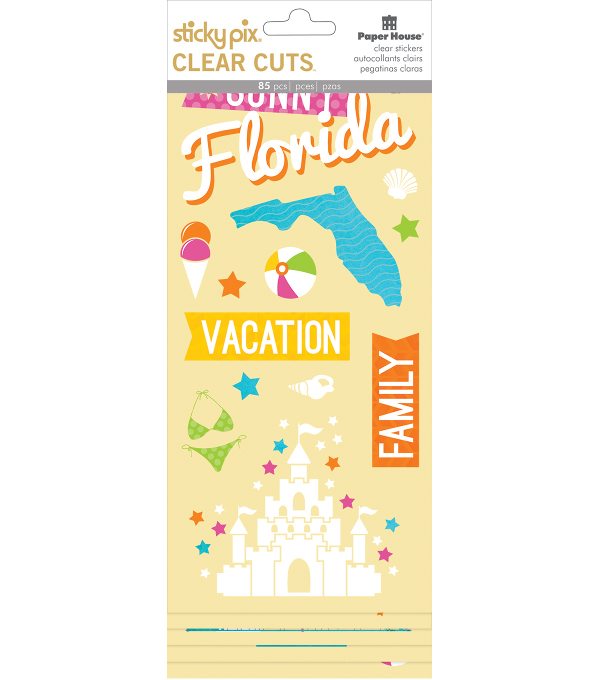 Paper House Sticky Pix Clear Cuts Pack of 85 Stickers-Florida