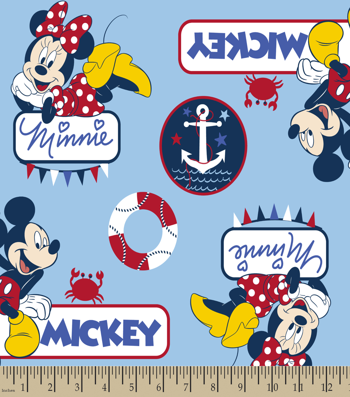 Disney Mickey & Minnie Print Fabric-Nautical