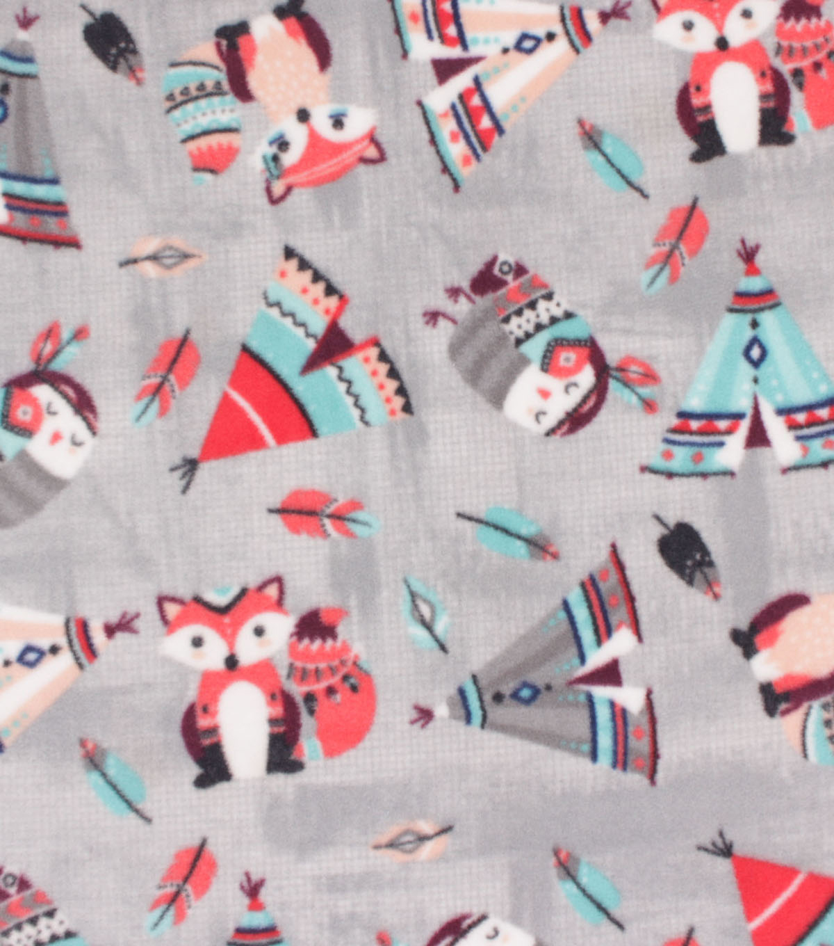 Anti-Pill Plush Fleece Fabric-Native Woodland Teepee