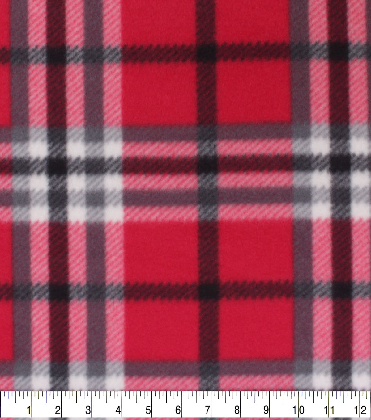 Blizzard Fleece Fabric-Trad Red Plaid