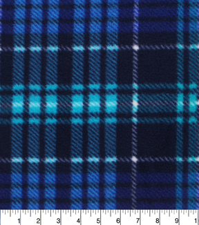 Anti-Pill Fleece Fabric -Joslyn Multi Blue Plaid
