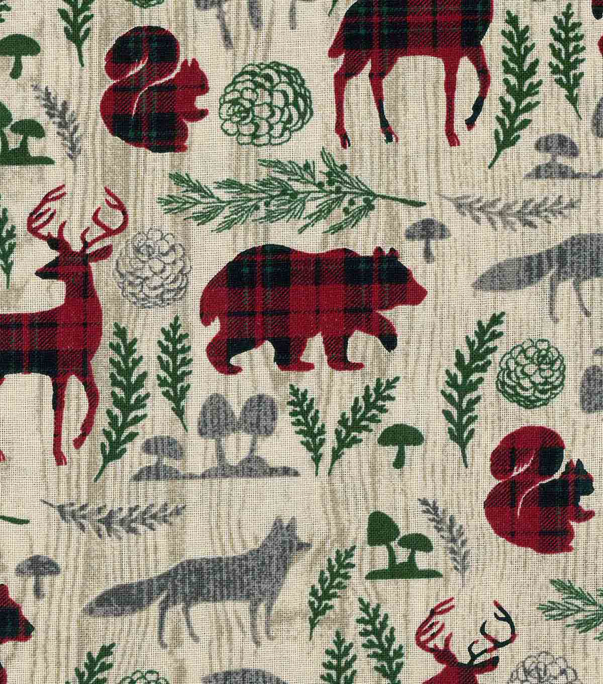 Christmas Cotton Fabric-Woodland Animals