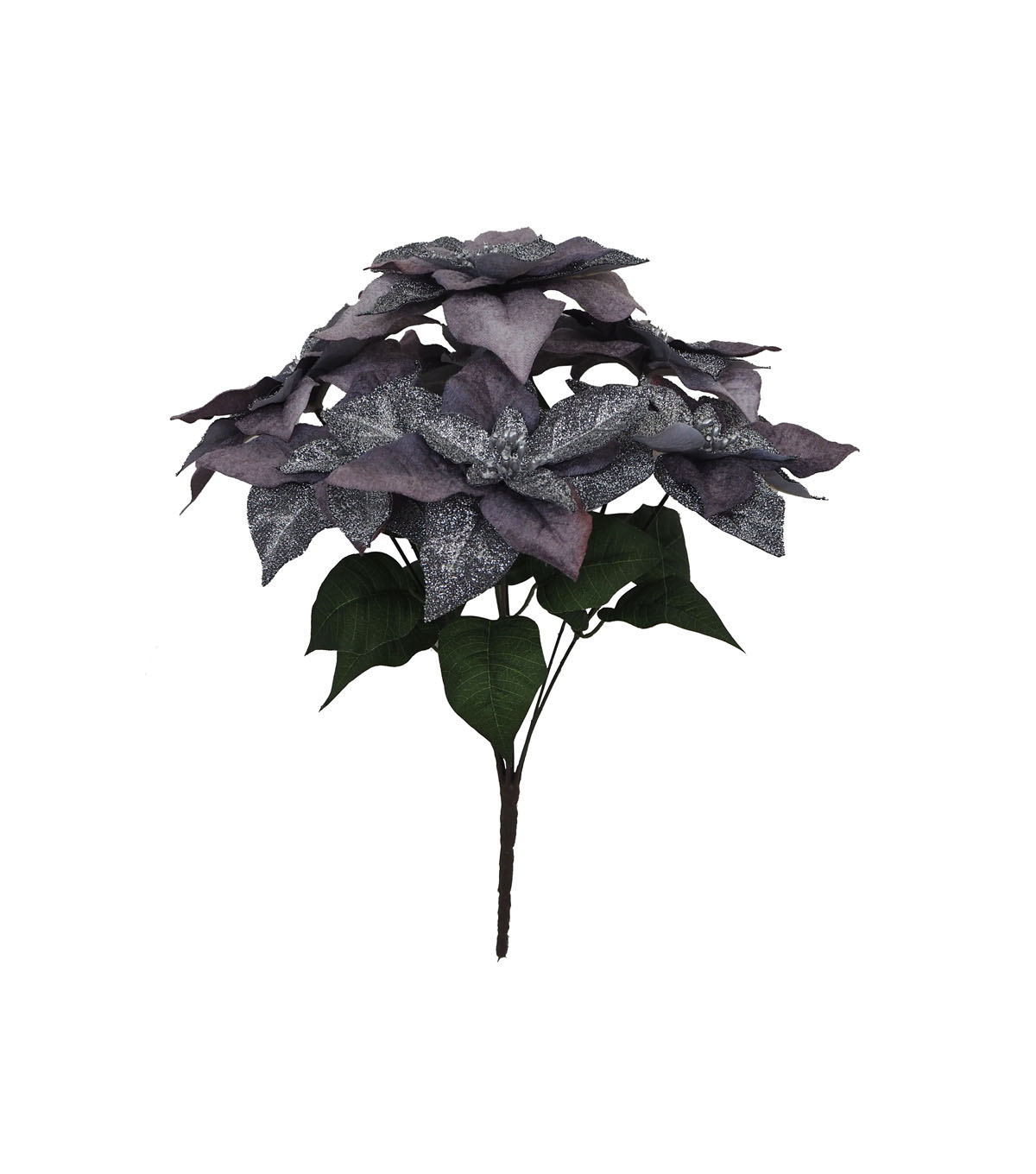 Blooming Holiday Christmas Metallic Glitter Poinsettia Bush-Gray