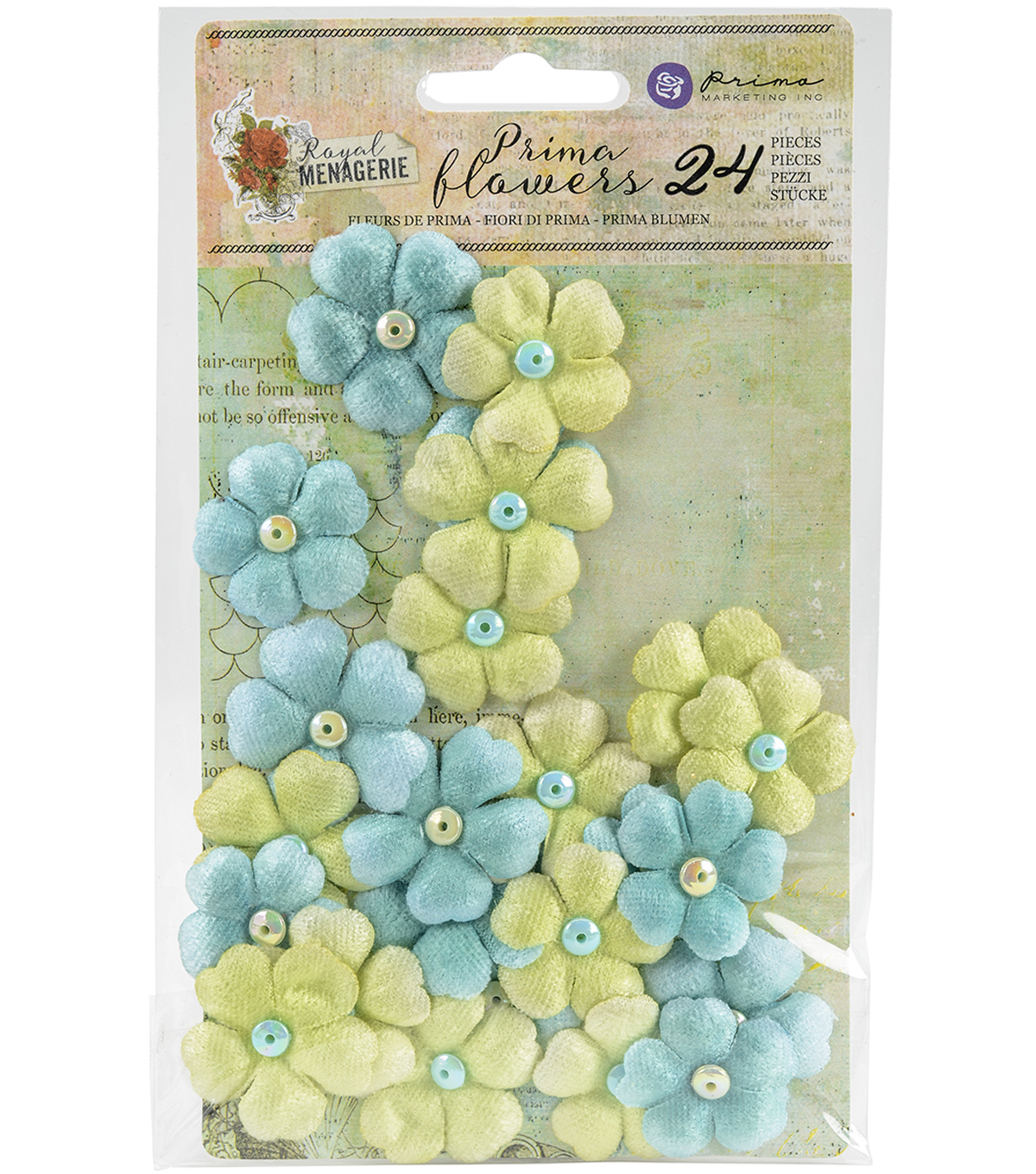 Prima Marketing Royal Menagerie 24 pk Mulberry Paper Flowers-Beatrix