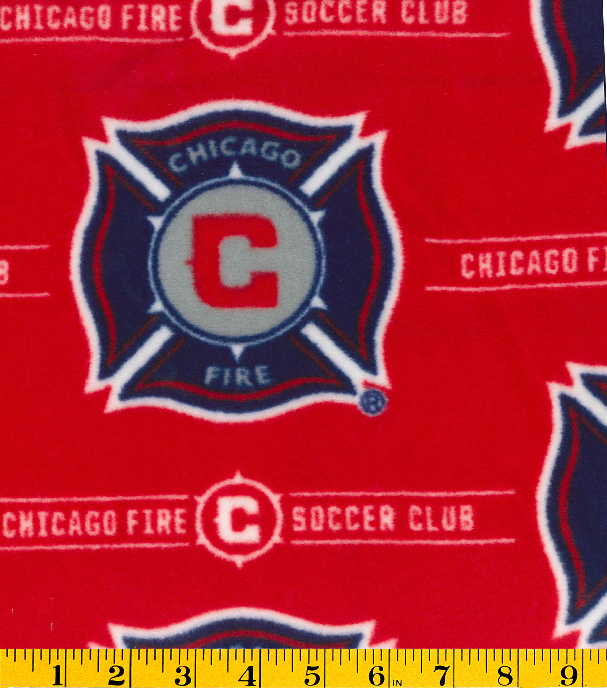 Chicago fire soccer club mls fleece fabric joann chicago fire soccer club fleece fabric 58u0022 logo biocorpaavc Images