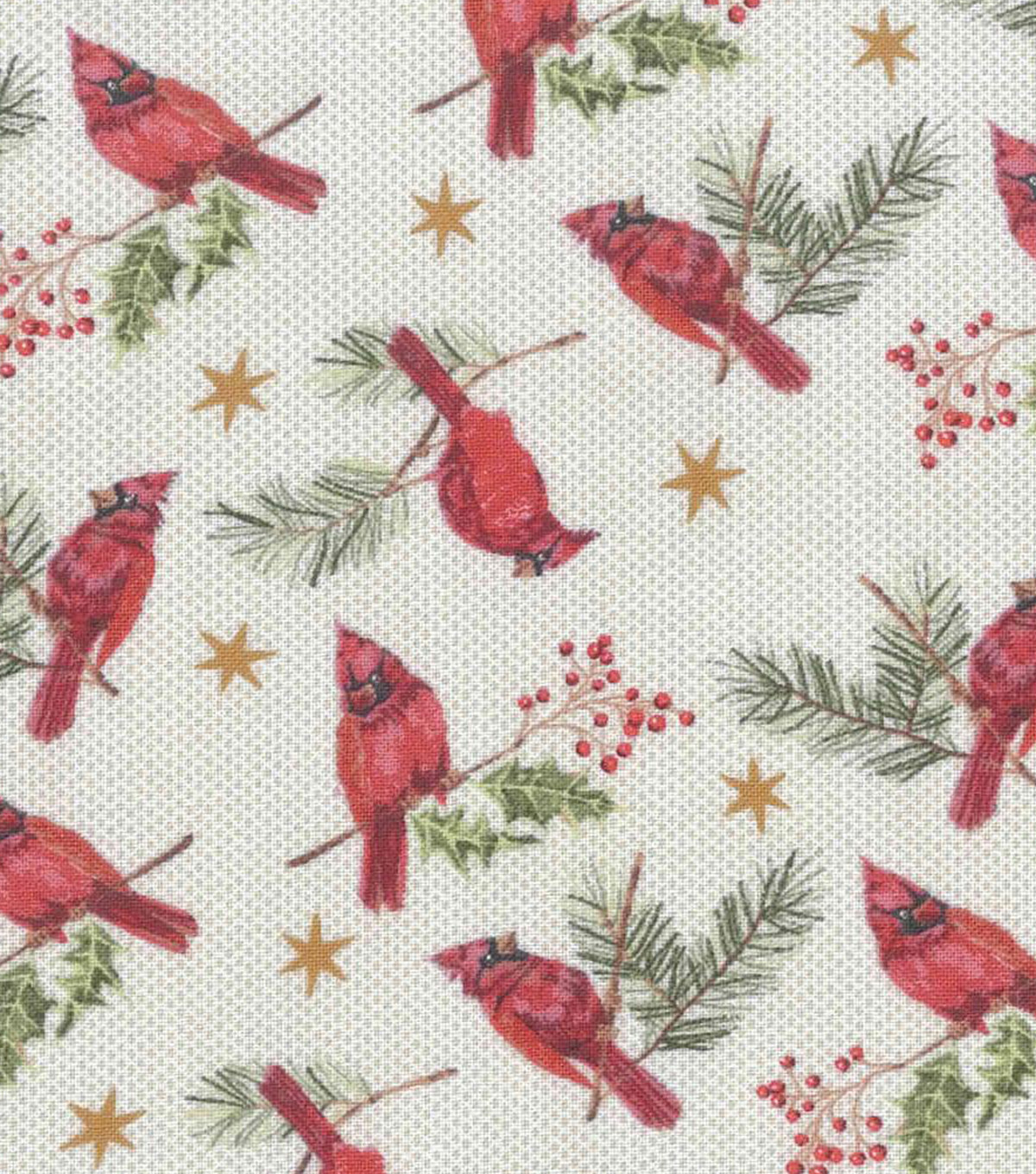 Christmas Cotton Fabric-Tossed Cardnials On Holly