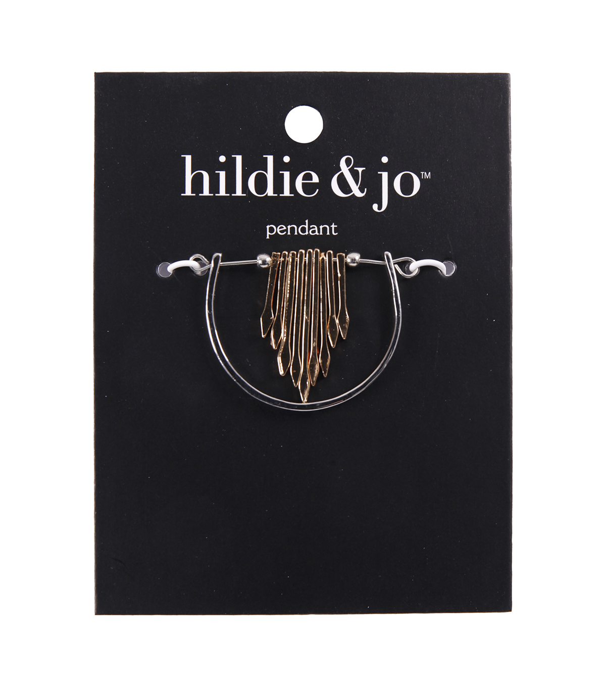 hildie & jo Minimalist Half Circle with Arrow Pendant-Gold & Silver