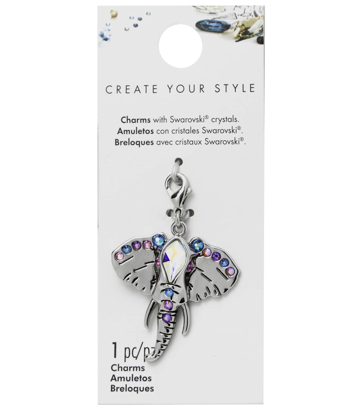 Swarovski Create Your Style Elephant Charm-Multi Crystals