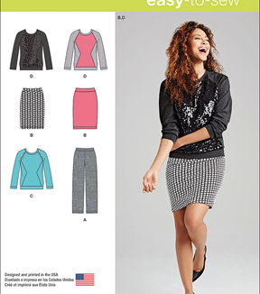 Simplicity Patterns Us1072K5-Simplicity Misses\u0027 Knit Pants, Skirt And Top-8-10-12-14-16